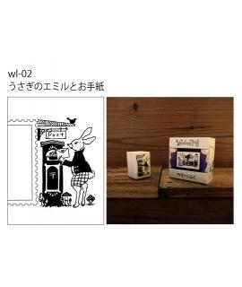日本進口 HANTO 切手印章 - 寄信的兔子 ( wl-02 )