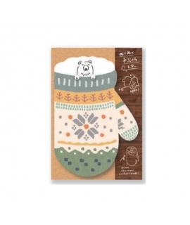 日本進口 古川紙工 Wa-Life 手套造型便箋組 - 白熊_綠 ( LT344 ) , 冬季限定品