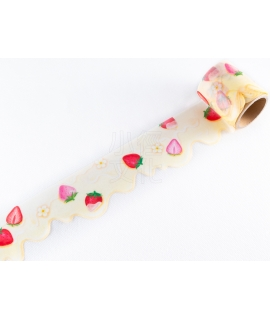 日本進口 MIND WAVE 寬幅和紙膠帶 - 草莓煉乳 ( 95018 )