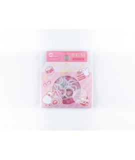 日本進口 BGM 和紙貼紙 點心系列 - 草莓_小鳥 ( BS-FG078 ),箔押