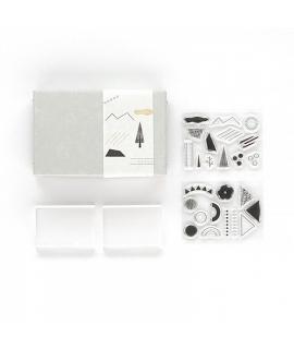 日本進口 水縞 當店原創文房具 自在 水晶印章組 - 幾何圖形 Shapesl 01 ( STJ-K-01 )