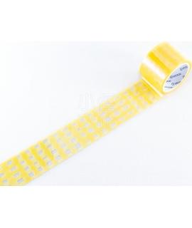 日本進口 KING JIM HITOTOKI SODA 透明PET膠帶 - 黃色方格紋 ( CMT30-001 )