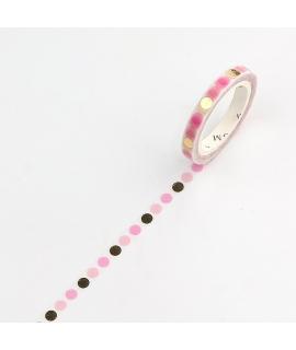 日本進口 BGM 箔押 5mm和紙膠帶 - 粉色水玉 ( BM-LSG070 )