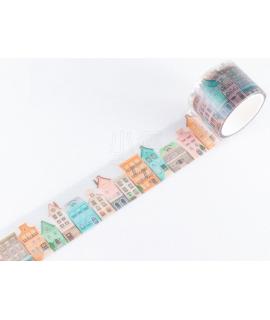 日本進口 MIND WAVE Clear Tape PET透明霧面膠帶 - 歐風小鎮 ( 95063 )